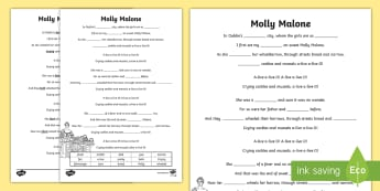 Molly Malone Writing Activity Sheet - ROI- Irish Songs, Seachtain na Gaeilge, cloze, song, song lyrics, Molly Malone, cloze, St Patrick's