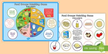 Food Groups Matching Game English/Mandarin Chinese - food, food groups, matching, match, mathching, EAL