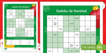 Christmas Words Sudoku Activity Sheet Spanish - vocabulary, words, worksheet, spelling, writing, christmas, worksheet