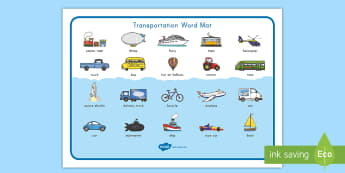 Transportation Word Mat -  vehicles, train, boat, motion, objects in motion