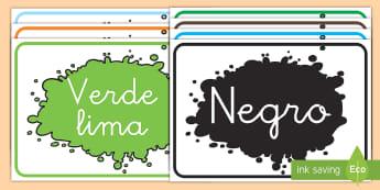 Pósters DIN A4: Los colores - Exposición, mural, exponer, decoración, decorar la clase, colores, color, los colores, póster, p