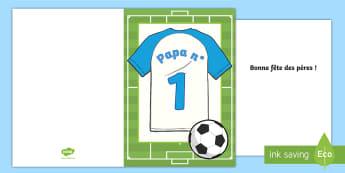 Carte maillot de football : La fête des pères - fête des pères, fête, pères, papa, carte, fathers day, father, dad, daddy, grandad, grandpa, car