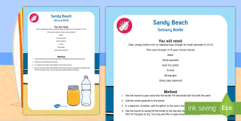 Sandy Beach Sensory Bottle - treasures in the garden, sensory play, seaside, beach, summer, twinkl fiction, twinkl stories, holly