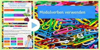 Modalverben verwenden PowerPoint Präsentation - Verben, Modalverb, Hilfsverben, Satzbau, Wortarten,,German