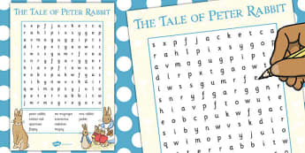 The Tale of Peter Rabbit Wordsearch - wordsearch, peter rabbit