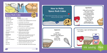 Space Rock Cakes Resource Pack  Resource Pack - Recipe, Baking, cooking, space rock cakes, rock cakes, food, Back to Earth with a Bump, Twinkl Origi