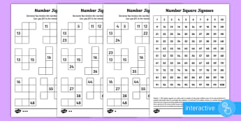 Number Square Jigsaws Go Respond Activity Sheet - year 2, maths, homework, place value, 100 square, number patterns, more, less, tens, ones, units