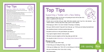 Supporting a Toddler with a New Baby Top Tips - new sibling, toddler behaviour, positive behavior, terrible twos,