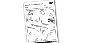 How We See Things Worksheet - how we see things, light worksheet, eyes worksheet, how our eyes work, how light bounces worksheet, light and dark worksheet