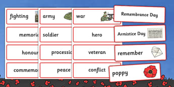 Remembrance Day Word Cards - remembrance day, word cards, word, cards