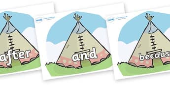 Connectives on Tipis - Connectives, VCOP, connective resources, connectives display words, connective displays