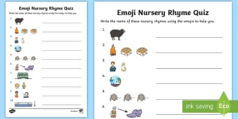 KS1 Emoji Nursery Rhymes Quick Quiz -  poems, traditional, nursery rhymes, EYFS, counting songs