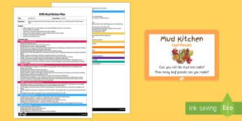 Leaf Parcels EYFS Mud Kitchen Plan and Prompt Card Pack - mud kitchen