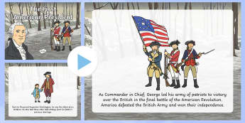 The First American President Story PowerPoint - President's Day, George Washington, First President, presidents