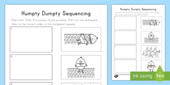 Humpty Dumpty Sequencing Activity Sheet -  nursery rhymes, story retelling, retelling the story, story sequencing, nursery rhyme sequencing, W