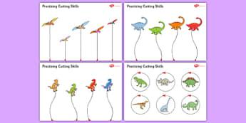 Dinosaur Themed Scissor Skills Worksheet / Activity Sheet Pack - dinosaur, themed, scissor skills, activity, sheets, fine, motor, worksheet