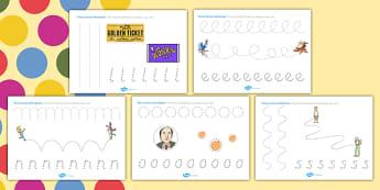 Roald Dahl Themed Pencil Control Worksheets - fine motor skills