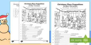 Christmas Place Prepositions Fill in the Gaps Activity Sheet - December, celebrate, write, vocabulary, woordeskat, skryf, EA, worksheet