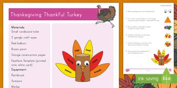 Thanksgiving Thankful Turkey Craft Instructions