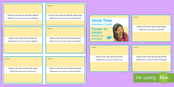 Mindful Me: Circle Time Emotion Cards English/Spanish - Mindfulness, meditation, calming, pastoral support, EAL,