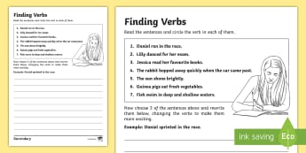 KS3 SEN Finding Verbs Activity Sheet - Finding Verbs Activity Sheet - finding, verbs, activity, sheet, verbsw, verbss, Grammar, sentence st
