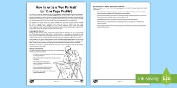 How to Write a Pen Portrait Guidance Sheet  - pen, portrait, one page, profile, sen, secondary, senco