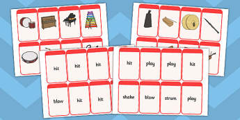 Musical Instrument Flashcards (Match the Action) - Music, instrument, action, word card, flashcard, word cards, playing instruments, piano, drums, guitar, recorder, violin, triangle, cymbals, notes, music