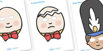 Humpty Dumpty Role Play Masks - Humpty Dumpty, role play mask, role play, nursery rhyme, rhyme, rhyming, nursery rhyme story, nursery rhymes, position, Humpty Dumpty resources