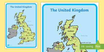 Map Of Uk Countries And Capital Cities.Locational Knowledge Name Locate And Identify