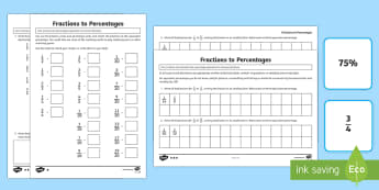 UKS2 Fractions to Percentages Differentiated Activity Sheets - Year 5, Y5, Year 6, Y6, Upper Key Stage 2, UKS2, KS2, solve problems which require knowing percentag