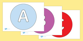 A-Z Alphabet on Circles - A-Z, A4, display, Alphabet frieze, Display letters, Letter posters, A-Z letters, Alphabet flashcards