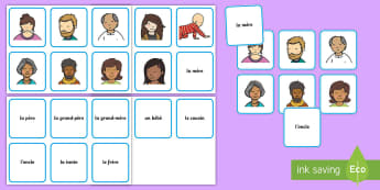 French Family Matching Cards  - French Family Display Posters - Ourselves display, mere, pere, mum, dad, frere, soeur, brother siste