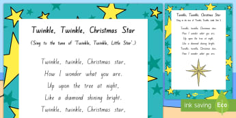 Twinkle, Twinkle, Christmas Star Song - Mat Time, resources, Songs, Music, Xmas, december, singing, music