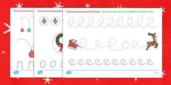 Karty Doskonalenie kontroli ołówka Święta Bożego Narodzenia  - boże narodzenie, gwiazdka, gwiazdkowy, Jezus, święta, choinka, bombki, mikolajki, mikolajkowy, o