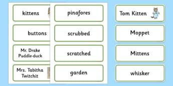 Beatrix Potter - The Tale of Tom Kitten Word Cards - beatrix potter, tom kitten, word cards, word, cards