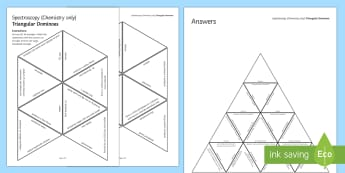 Spectroscopy Tarsia Triangular Dominoes - Tarsia, gcse, chemistry, spectroscopy, spectroscope, chemical analysis, flame tests, gas tests, chlo, plenary activity