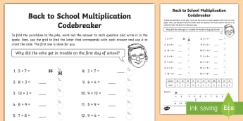 Back to School Joke Multiplication Code Breaker Activity Sheet - numeracy, September, times tables, puzzle, Problem Solving, new term, worksheet