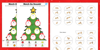 Initial Sound Christmas Tree Match Activity British Sign Language
