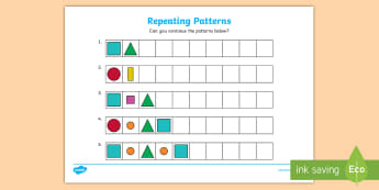 Repeating Pattern Worksheet / Activity Sheets (Shapes and Colours) - Repeating patterns, repeat, repeating, shape repeating pattern, shapes, shape, pattern, patterns, colour, repeating colours, colour repeating patterns, numeracy, patterns, shapes, c