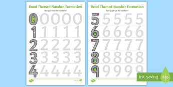 Road Themed Number Formation Worksheet / Activity Sheets - road, road themed, number formation, number, formation, activity, overwriting