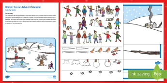 Winter Scene Advent Calendar Poster and Resource Pack - EYFS, Early Years, KS1, Key Stage 1, Christmas, Xmas, Christian, Festival, Celebration, Advent Calen