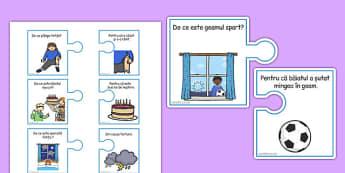 Joc de comunicare - Piese de puzzle - joc de comunicare, comunicare în limba română, piese, puzzle, joc, cauzalitate, materiale, materiale didactice, română, romana, material, material didactic
