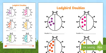 Ladybird Doubles to 20 Activity Sheet - worksheet, doubles, half, halfs, halve, double, ladybird, minibeast, insects, numbers to 20