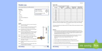 Hooke's Law Investigation Instruction Sheet  - Hooke's Law, forces, spring extension, mass, gravity, practical, weight, coefficient