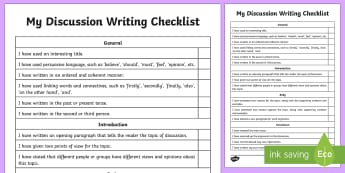 Discussion Writing Student Checklist - Literacy, Discussion Writing Student  Checklist, naplan, australia, australian curriculum, english,