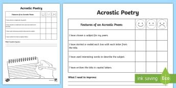 Writing an Acrostic Poem Self-Assessment Tracker - acrostic, poem, poetry, key features, write, assessment, self, peer
