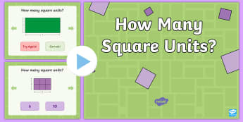 Find the Area in Square Units PowerPoint - area, measurement, tiling, counting squares, rectangles