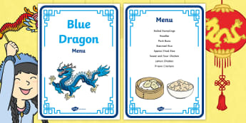Dragons in the City Blue Dragon Restaurant Role-Play Menu - Dragons in the City, Chinese New Year, Chinese restaurant, Chinese foods, noodles, rice, dumplings,