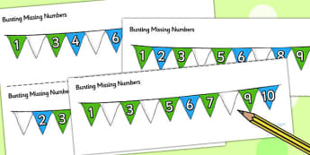 Bunting Missing Number To 10 Worksheet / Activity Sheets - bunting, numbers, maths