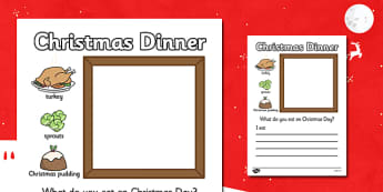 Christmas Dinner Writing Frame - christmas, writing frame, write